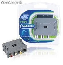 Bandridge Adaptador de Audio Vídeo SCART macho - S-Video hembra + 3x RCA hembra,