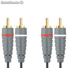 Bandridge Cable Audio estéreo, longitud 5 metros, 2 x RCA macho - macho, color