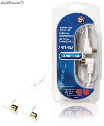 Bandridge Cable de Antena Digital Blindado Acodado 120dB 5 metros Color Blanco