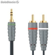 Bandridge Cable de audio de 5 metros, macho 3,5 mm - 2 x RCA macho, color azul,