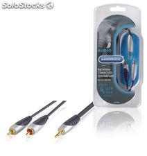 Bandridge Cable de Audio macho 3,5 mm - 2 x RCA macho, color negro, longitud 2