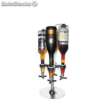 Bar botellero dispensador para 4 botellas, acero inoxidable