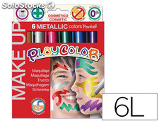 Barra de maquillaje playcolor make up metallic caja de 6 colores surtidos
