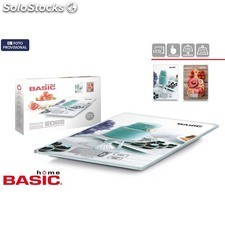 Báscula cocina digital 5KG cuadrada decorada basic home - basic home -
