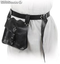Belt with belt pouch made of synthetic leather