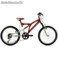 Bici 20 suspension total en shimano rojo/blanco""