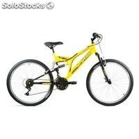 Bici 24 doble suspension amarillo/negro 21 vel.""