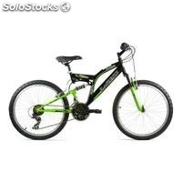 Bici 24 doble suspension en verde/negro""