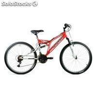 Bici 26 doble suspension en rojo/blanco de 21 vel.""