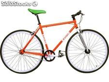 Bicicleta single speed/fixie naranjo/blanco