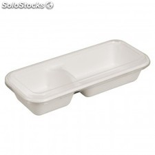 """bionic"" container 3 comp.- 850 ml 26x11,1x4,7 cm blanc cellulose"