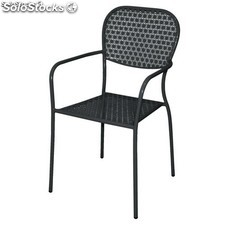 Black Steel Patterned Bistro Arm Chair (Pack 4)