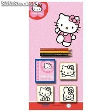 Blister 3 Sellos mas Lapices de Colores Hello Kitty