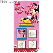 Blister 3 Sellos mas Lapices de Colores Minnie Mouse