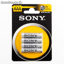 Blister de 4 Pilas Salinas Ultra Sony AAA R03 1,5V, ideal para dispositivos de