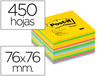 Bloc de notas adhesivas quita y pon post-it 76x76 mm gama ultra alegria cubo