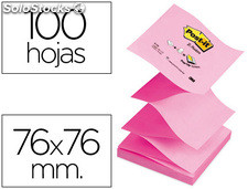 Bloc de notas adhesivas quita y pon post-it 76X76 mm z-notes rosa pastel y neon