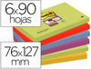 Bloc de notas adhesivas quita y pon post-it super sticky 76X127 mm con 90 hojas