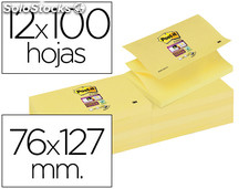 Bloc de notas adhesivas quita y pon post-it super sticky 76x127 mm zigzag con