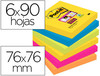 Bloc de notas adhesivas quita y pon post-it super sticky 76X76 mm con 90 hojas