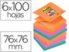 Bloc de notas adhesivas quita y pon post-it super sticky 76X76 mm zigzag con 6