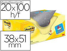 Bloc de notas adhesivas quita y pon post-it super sticky amarillo canario 38x51