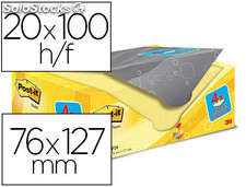 Bloc de notas adhesivas quita y pon post-it super sticky amarillo canario 76x127