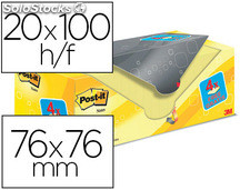 Bloc de notas adhesivas quita y pon post-it super sticky amarillo canario 76x76