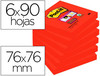 Bloc notas adhesivas quita y pon post-it super sticky 76X76 mm con 90 hojas 654