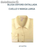 Blusa Oxford - Entallada - Cuello V - Manga Larga - Color Amarillo