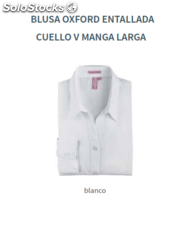 Blusa Oxford - Entallada - Cuello V - Manga Larga - Color Blanco