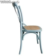 Bolero Wooden Dining Chair with Cross Backrest Antique Blue Wash (Box 2)