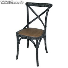 Bolero Wooden Dining Chair with Cross Backrest Black Wash Finish (Box 2)