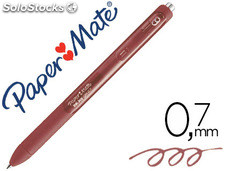 Boligrafo paper mate inkjoy retractil gel pen trazo 0,7 mm marron