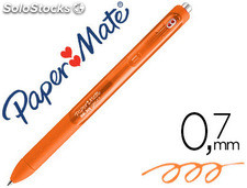 Boligrafo paper mate inkjoy retractil gel pen trazo 0,7 mm naranja