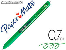 Boligrafo paper mate inkjoy retractil gel pen trazo 0,7 mm verde