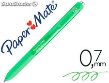 Boligrafo paper mate inkjoy retractil gel pen trazo 0,7 mm verde lima