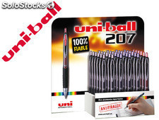 Boligrafo uniball umn-207 tinta gel retractil expositor de 36 colores surtidos