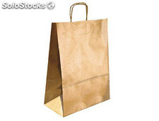Bolsa kraft q-connect oro asa retorcida 420x190x480 mm