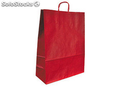 Bolsa kraft q-connect rojo asa retorcida 420x190x480 mm