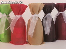 Bolsas para botellas de vino de 18,7 cl lazo de organza 6 colores disponibles