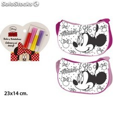 Bolso Minnie Mouse rectangular Coloreable DISNEY + 4 Rotuladores