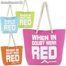 Bolso playa wear red 4 colores 46x15x36cm
