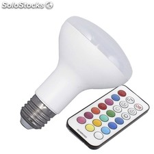 Bombilla led e27 r80 10w rgb + mando a distancia rgb regulable