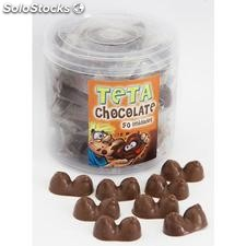Bote de 50 tetas de chocolate con leche made in spain