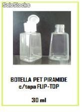 Botella pet piramide c/tapa flip-top 30ml
