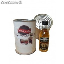 Botellin miniatura Whisky 100 Pipers en lata personalizada