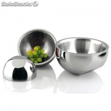 Bowls doble pared 11x8 cm plateado inox