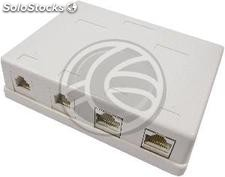 Box 2 surface and 2 Cat.3 RJ11 utp Cat.6 RJ45 (RI22)