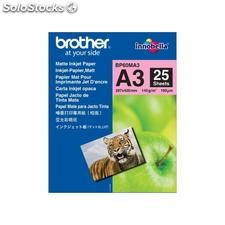 Brother papel fotografico 25 hojas A3 145 g mate BP60MA3